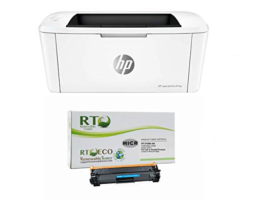 Renewable Toner Laserjet M15w Check Printer Bundle with Compatible HP CF248A 48A MICR Toner Cartridge