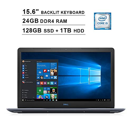 2020 Premium Dell G3 15.6 Inch FHD 1080P Gaming Laptop (Intel Core i5 2.3GHz up to 4.0GHz, 24GB DDR4 RAM, 128GB SSD + 1TB HDD, Nvidia GTX 1050Ti 4GB, Backlit Keyboard, Bluetooth, WiFi, Windows 10)