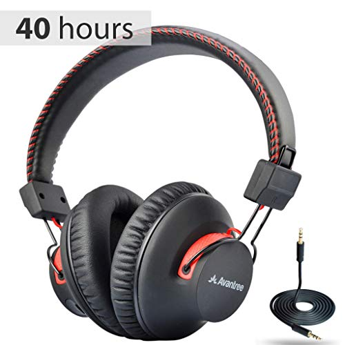 Avantree Audition 40 hr Wireless Wired Bluetooth Over Ear Headphones with Mic, aptX HiFi Headset, Extra Comfortable and Lightweight, NFC, Stereo for PC Cell Phone Laptop - Black & Red