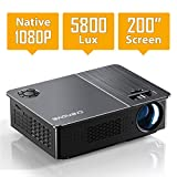 Native 1080P Projector, Crenova HD Video Projector, 5800 Lux LED Movie Projector with 200' Display, Compatible with TV Stick, HDMI, VGA, USB, iPad, PC, Xbox, iPhone for Home Entertainment