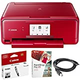 Canon PIXMA TS8120 Wireless Inkjet All-in-One Printer with Scanner & Copier Red (2230C042) CLI-281 Black Ink Tank, Corel Paint Shop Pro X9 Digital Download & High Speed 6-Foot USB Printer Cable