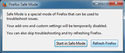 safe mode mozilla