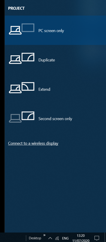 extend, duplicate, pc screen only, second screen only